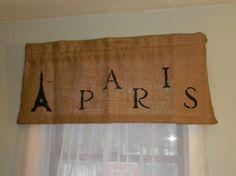 Burlap Paris Valance / 40 W X 16 L. by CraftyAmour on Etsy, $25.00