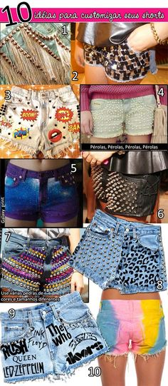 10 ideias para customizar shorts