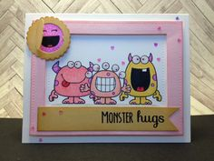 YNS: Silly Monsters stamp set, Create a character stamp, Mini Peek-A-Boo Door die. Spectrum Noir alcohol markers and paper. Distress ink: Victorian Velvet, Brushed Corduroy. Scallop punch. Lawn Fawn small stitched rectangle. Martha Stewart glitter. Glossy Accents. Wink of Stella.