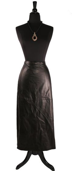 Vintage 1980's Danier Black Leather Pencil Skirt by TheHoneyWitch