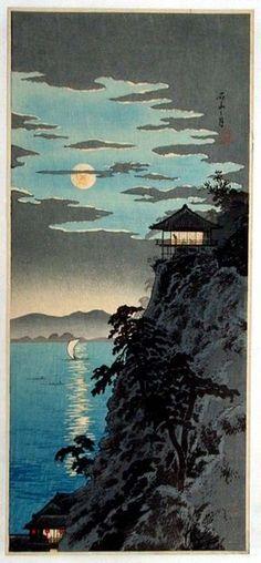 Takahashi Shotei~Teahouse in the Moonlight