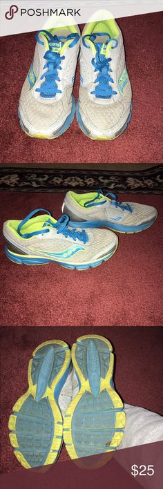 Saucony sneakers Gray blue and green sneakers worn but in good condition Saucony Shoes Sneakers