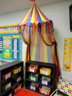 classroom library- I love the reading corner! Circus Theme Classroom, New Classroom, Classroom Design, Classroom Displays, Classroom Organization, Classroom Decor, Preschool Rooms, Kindergarten Classroom, Reading Corner Classroom