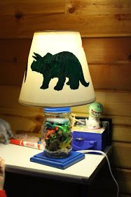 DIY dinosaur lamp Maybe could use hollow upright Dino for base? Big Boy Bedrooms, Baby Boy Rooms, Kids Bedroom, Bedroom Ideas, Toddler Rooms, Bedroom Designs, Toddler Bed, Dinosaur Room Decor, Dinosaur Nursery