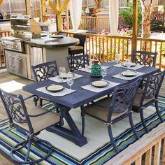 Camellia 6-Person Cast Aluminum Patio Dining Set With Cast Aluminum Table : Ultimate Patio