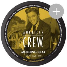 American Crew Molding Clay    High hold with medium shine.    Limited Elvis Edition Concentrated styling power lets you manipulate hair into any style. Works well for short styles and those who seek a styling product with a more natural subtle fragrance.