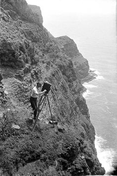 Using a cine camera on the cliffs of Lord Howe Island, 1921
