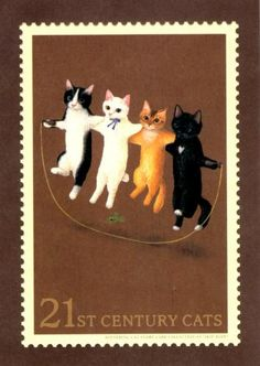 """I've recently become a cat stamp collector so I like this one."" Cats on stamp"