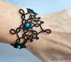 Tatted lace bracelet Art Nouveau black. $30.00, via Etsy.