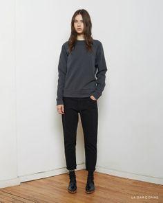T by Alexander Wang / Vintage Fleece Sweatshirt  Acne Studios / Kid Cropped Trousers  Maria La Rosa / Mid-Calf Silk Socks  Alexander Wang / Hilary Oxford