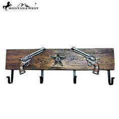 """Montana West Double Pistol Revolver Wood Metal 24"""" Coat Rack Home Decor Brown…"""