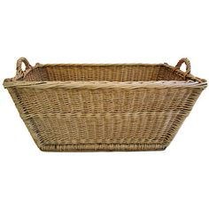 Pre-Owned French Woven Willow Basket w/ Handles ($345) ❤ liked on Polyvore featuring home, home decor, small item storage, decorative accessories, weave basket, brown basket, braided basket, french home decor and handmade home decor