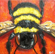 Print Bee 192 10x10 inch Print from oil painting by Roz by RozArt