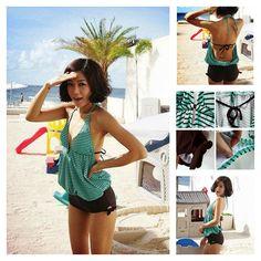 Monokinisuits.com | Mint Green Stripe Blousy Monokini