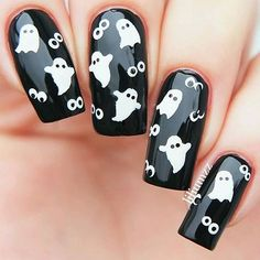 Are you looking for easy Halloween nail art designs for October for Halloween party? See our collection full of easy Halloween nail art designs ideas and get inspired! Holloween Nails, Cute Halloween Nails, Halloween Acrylic Nails, Halloween Nail Designs, Diy Halloween, Halloween Halloween, Halloween Makeup, Halloween Nail Decals, Halloween Recipe