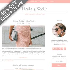 50% Off Hailey Wells WordPress Theme by Studio Mommy on Creative Market