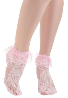Surrey With Lace on Top Socks in Pink - Pink, Floral, Lace, Ruffles, Vintage Inspired, Spring
