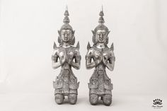 Pair of Silver Buddhist Statues Male & Female by SiamSawadee