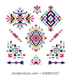 Find Set Fashion Mexican Navajo Aztec Native stock images in HD and millions of other royalty-free stock photos, illustrations and vectors in the Shutterstock collection. Motifs Aztèques, Motifs Textiles, Textile Patterns, Embroidery Patterns, Hand Embroidery, Native American Patterns, Native American Design, Tribal Patterns, Beading Patterns