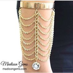 Liven up the party with glitz and glam wearing this crystal pendant arm chain from madisongems.com  #FashionJewelry #Accessories #Bling #Trendy #Glam #Jewels #Jewelry #JewelryGram #InstaJewelry #Sparkle #Gems #ArmChain #ShopSmall #HappyHolidays #Christmas #TisTheSeason #MadisonGems #ElevateYourStyle