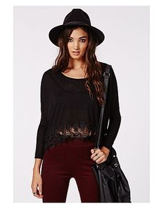 Missguided Long sleeve tops, Price: GBP 14.99, Lou Long Sleeve Crochet Hem Jersey Top Black