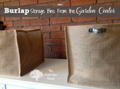 Big storage bins made from cheap burlap planters from the garden center! From The Creek Line House.