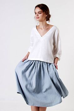 Soft linen summer skirt tailored from Lithuanian washed linen fabric for comfort and natural everyday wear.   FABRIC:  100% Washed Lithuanian Linen  COLOR:  Custom color - Off White, Dusty Rose, Natural Grey, Light Grey, Bluish Grey, Charcoal.  STYLE:  Ruffled skirt, medium length, with side pockets. If you need other style, length or color, please convo me.  SIZE CHART: US 0 (EU XS): Bust 31.5 (80 cm) , Waist 24.5 (62 cm), Hips 34 (86 cm) US 2 (EU S): Bust 33 (84 cm) , Waist 26 (66 cm)…