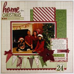 Layout: Teresa Collins Christmas Cottage Layout by Mendi Yoshikawa ~ Scrapbooking Inspiration ~ ♥ Christmas Scrapbook Layouts, Scrapbook Designs, Scrapbook Sketches, Scrapbook Page Layouts, Scrapbook Cards, Christmas Layout, Scrapbooking Ideas, Picture Scrapbook, School Scrapbook