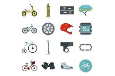 Biking icons set, flat style. Objects. $5.00