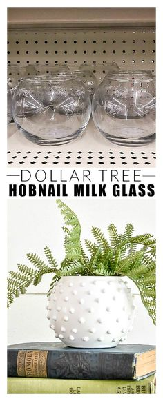 Dollar Store DIY: How to Make Hobnail Frosted Glass # diy . Dollar Store DIY: How to Make Hobnail Frosted Glass # diy Dollar Tree Decor, Dollar Tree Crafts, Dollar Tree Vases, Diy Home Crafts, Decor Crafts, Easy Crafts, Home Craft Ideas, Diy Crafts For Adults, Diy Crafts For Gifts