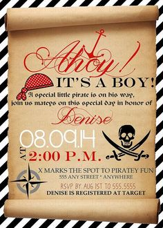 Ahoy Pirate Baby Shower Invitation by DenisesDesignStudio on Etsy Pirate Baby Shower Ideas, Boy Baby Shower Themes, Baby Shower Cards, Baby Boy Shower, Baby Shower Gifts, Baby Gifts, Girl Gifts, Shower Party, Baby Shower Parties