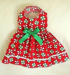 XXS New Christmas Candy Mints Dog dress clothes pet teacup