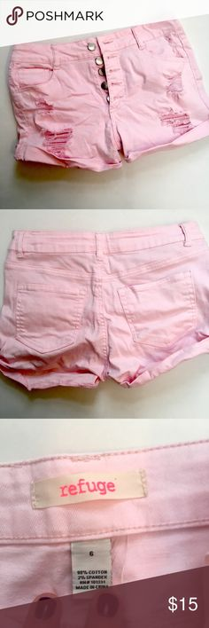 Light Pink Distressed Shorts These shorts are an absolute show stopper! They're light pink in color, and have distressed markings! There is some minor pilling, but doesn't take away from the garment at all! They're in excellent condition! refuge Shorts