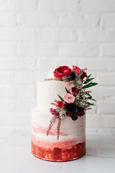 wedding cakes 21 Two-Tiered Cakes That Prove Bigger Isnt Always Better - two tiered red painted wedding cake with flower accents Wedding Cake Photos, Beautiful Wedding Cakes, Wedding Cake Designs, Beautiful Cakes, Wedding Cake Red, Wedding Veil, Wedding Pics, Colourful Wedding Cake, Winter Wedding Cakes