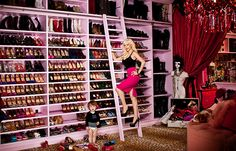 Christina Aguilera's closet, love the ladder, what a great use of shelf space! #home #organization