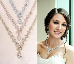 Ive created this statement bridal jewelry set for the bride who wants everything! Ive set the crystals in an exquisitely detailed setting for a dramatic look. This set includes the necklace with backdrop AND matching earrings.  Necklace measures 17.25 long Front crystal drop measures 1 long  Earrings are 1 3/8 long and 1/2 at the widest point.  Available in rose gold tone, silver tone OR gold tone.  Please message me with any questions.  Thanks so much for looking! CrystalAvenues  *...