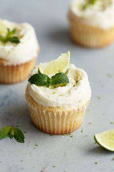 Fluffy Lemon Cupcakes with Mojito Frosting