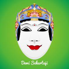 Topeng Malangan - Dewi Sekartaji by oddzoddy on DeviantArt Cnc Cutting Design, Malang, Masks, Culture, Deviantart, Traditional, Costumes, Logos, Geography