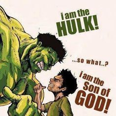 Romans Think David and Goliath! If God is for us, then who is against us? The Hulk? Christian Humor, Christian Art, Christian Quotes, Christian Comics, Christian Cartoons, Son Of God, Bible Verses Quotes, Bible Scriptures, Jesus Cartoon