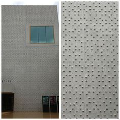 Here the base of a plastic bottle has been used in this concrete facade to create flower patterns.