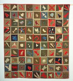 Pieced, Appliqued, and Embroidered Wool Southern Album Quilt, America, early 20th century.