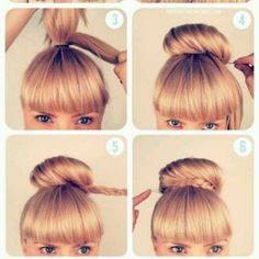 this is really cute. I think its the sock bun with a strand of braided hair around.