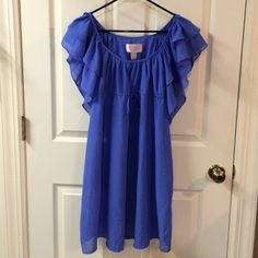 """H&M dress H&M periwinkle blue light weight dress w/cinched bow tie waist, ruffled sleeves, and POCKETS! This will be your perfect summer staple! Size 4. 34"""" from top of shoulder to hem. Tag w/materials listed inside was removed bc the dress is sort of sheer - you'll need nude undergarments or maybe slip (unless you're daring!) it's very light weight and I'd guess a poly blend. Soooo pretty and girly!! EUC, no flaws. Please ask any questions prior to purchasing. Thank you! H&M Dresses"""