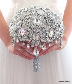 Full price Crystal silver white BROOCH BOUQUET. by MemoryWedding