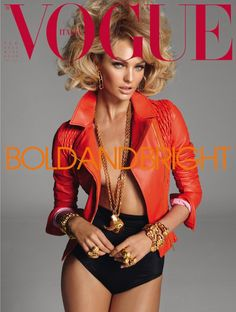 Candice Swanepoel is on this month's cover of Vogue Italia February 2011 issue. Swanepoel was photographed by Steven Meisel wearing an orange Blumarine Spring 2011 leather jacket. Vogue Covers, Vogue Magazine Covers, Fashion Magazine Cover, Fashion Cover, Look Fashion, Fashion Models, High Fashion, Vogue Fashion, Magazine Photos