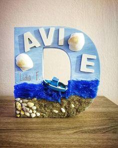 Lettera decorata in stile marino decorative wooden letter Letter D diy Nautical letter