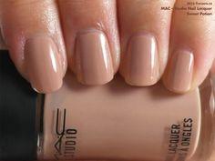 MAC Studio Nail Lacquer in Sweet Potion (swatch by fivezero.ca) [beige, tan]
