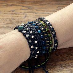 Black string bracelet with steel, ceramic, gemstone and wooden beads. Paracord bracelet for women.
