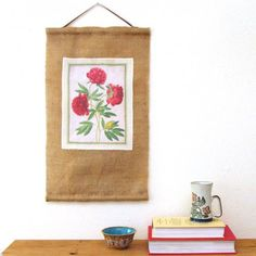 How to print on fabric easily with great results! And make a hanging art scroll from old coffee bean bag burlap + printed fabric!