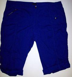 Ashley Stewart Cargo Roll Cuff Capri Crops Pants Cobalt Blue Cotton Spandex  #AshleyStewart #CaprisCropped